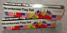 Bicentennial 5 Flag Desk Set Box
