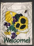 43x32 polyknit Welcome Sunflowers flag
