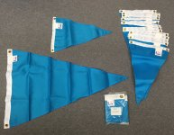 Bright Blue nylon triangle flags